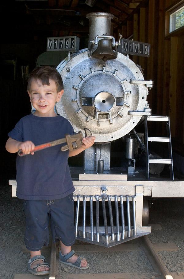 kid with train